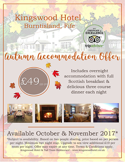 Autmn accommodation offers at The Kingswood Hotel Fife Scotland