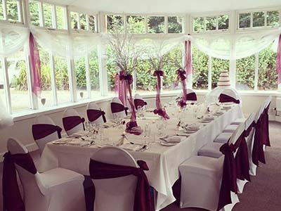 Conservatory set up for dining at The Kingswood Hotel Wedding Venue Burntisland Fife