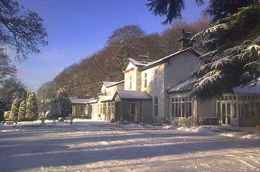 Winter snow scene outside the Kingswood Hotel in Fife East Scotland