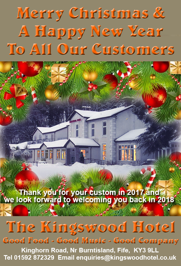 Merry Christmas and a Happy New Year from The Kingswood Hotel Fife Scotland