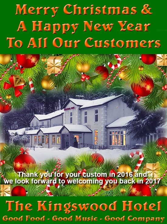 Merry Christmas and a Happy New Year from the Kingswood Hotel Burntisland Fife Scotland