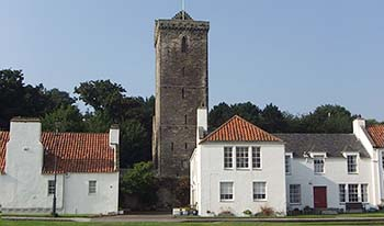 St Serfs Tower overlooks the Pan Ha' Dysart Fife Scotland