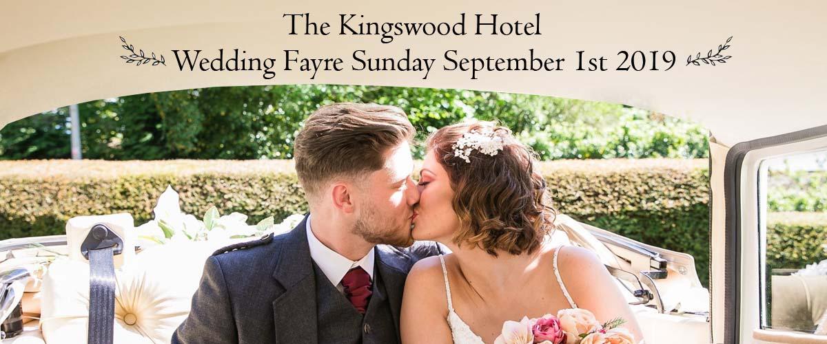 Wedding Fayre at THe Kingswood Hotel Burntisland Fife on September 1st 2019. Entry free.