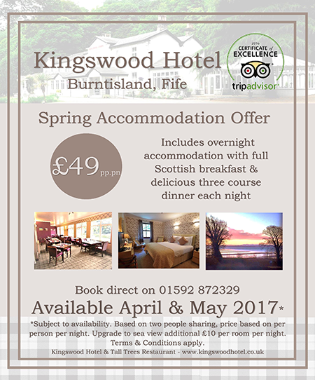 Spring Accommodation offers for 2017 at The Kingswood Hotel Burntisland Fife Scotland