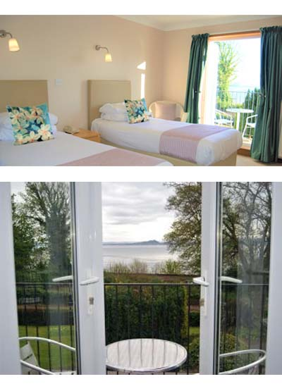 Kingswood Hotel accommodation twin room with sea view and balcony in Fife Scotland