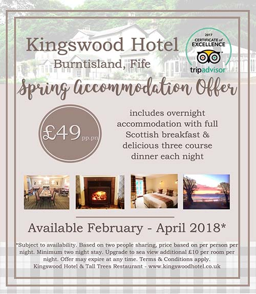 Spring accommodation offers in Fife at The Kingswood Hotel. Room offers include dinner and breakfast.