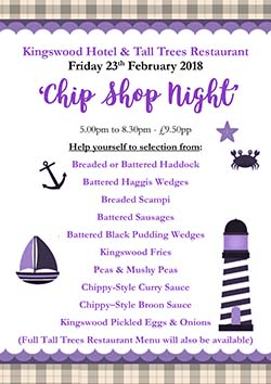 Chip Shop Theme Night at THe Tall Trees Restaurant Burntisland Fife