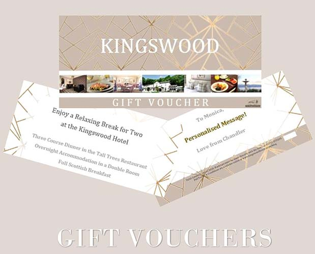 KIngdom of Fife Hotel Voucher for Hotel and Restaurant services at THe Kingswood Hotel Burntisland.