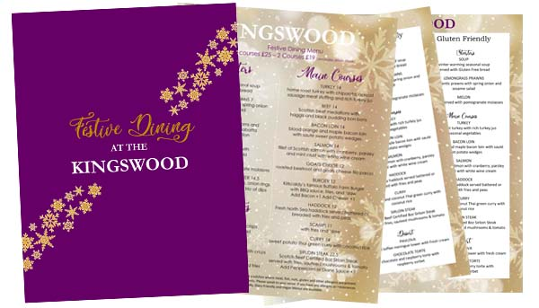 KIngswood Hotel Festive Menu