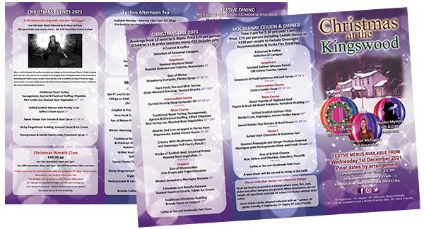 THe Kingswood Hotel, Burntisland, Fife, Brochure for Christmas and Hogmanay 2021